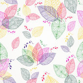 Colorful Spring leaves seamless pattern — Vector de stock