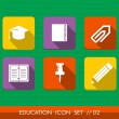 Education colorful flat icons set collection — Stock Vector