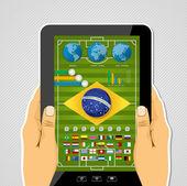 Brazil soccer championship tablet infographic — Stock Vector