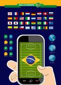 Brazil soccer championship phone infographic — Stock Vector