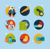 Футбол плоский иконы set — Cтоковый вектор