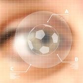 Virtual screen human eye soccer concept — Stock Vector