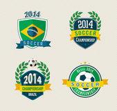 Brazil soccer vintage labels set — Stock Vector