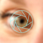 Blurred photo eye camera lens concept — Stock Vector