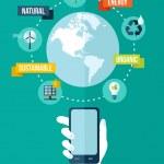 Go green global mobile app concept illustration — Stock Vector #50120587