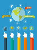 Green ecology concept flat illustration — Vecteur