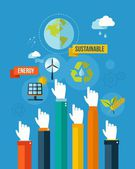 Go green sustainable energy concpet illustration — Stock Vector