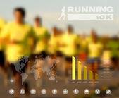 Běžící lidi rozmazané infographic — Stock vektor