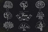 Custom hand made tree icons set — Stock Vector