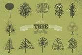 Custom Hand drawn tree icons set — Stock Vector