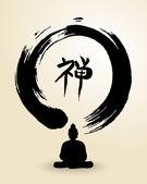Zen circle and Buddha illustration — Stock Vector