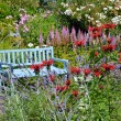Stock Photo: Blue garden bench