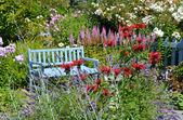Blue garden bench — Stock Photo