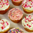 Stock Photo: Pink and white cupcakes