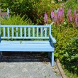 Blue garden bench — Stock Photo