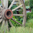 Stock Photo: Old wooden wagon wheel