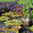 Spring garden pond — Stock Photo