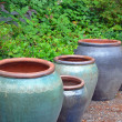 Big blue empty garden pots — Stock Photo