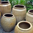 Clay pots in garden shop — Stock Photo