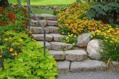 Stone garden staircase — Stock Photo