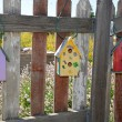 Three colorful birdhouses — Stock Photo