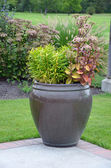 Summer planter on patio — Stock Photo