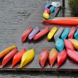Colorful canoes on dock — Stock Photo