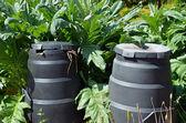 Composting bins in garden — Stock Photo