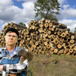 Lumberjack and logs — Stock Photo