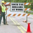Tax dollars road sign — Stock Photo
