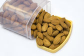 Boxful of Almonds — Stock Photo