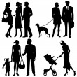 Several , city live - vector silhouettes — Stock Vector