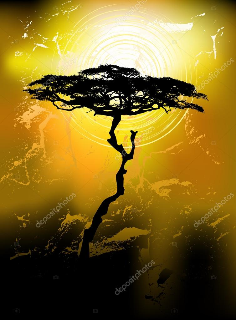 Tree silhouette on an abstract background — ベクター素材ストック #13495444