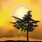 silueta de árbol sobre un fondo abstracto — Vector de stock