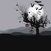 Halloween background - scary tree in full moon — Cтоковый вектор