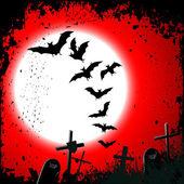 万圣节背景-被毁公墓在满月 — 图库矢量图片