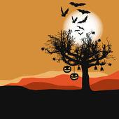 万圣节背景-可怕树在满月 — 图库矢量图片