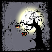 Halloween background - two pumpkins are hanging on the tree — Stock Vector