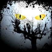 Fondo halloween con los ojos de miedo — Vector de stock
