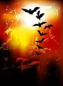 Halloween background - flying bats in full moon — Stock Vector