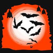 万圣节背景-飞行蝙蝠在满月 — 图库矢量图片