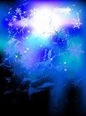 Fondo místico con copos de nieve — Vector de stock