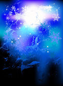 Fundo místico com flocos de neve — Vetorial Stock