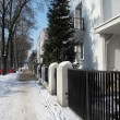 Winter, sunny day on street in Warsaw — Stock Photo