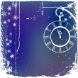 Background with a clock in blue color — Vector de stock