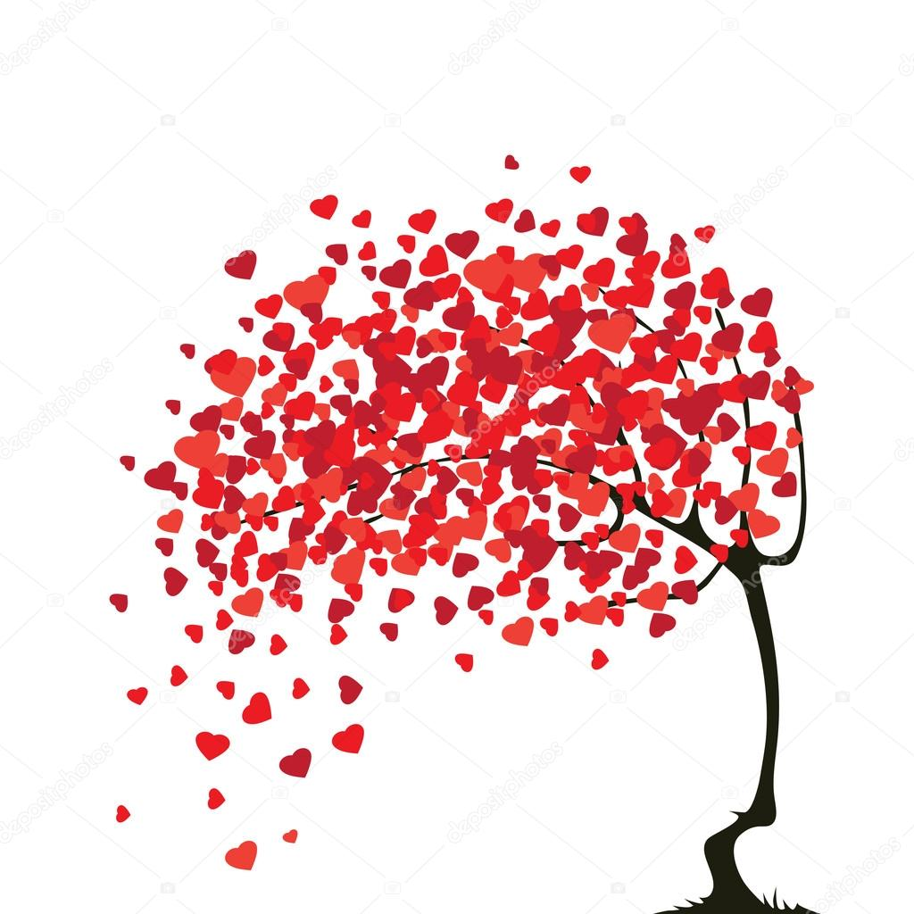 Valentine's abstract tree with hearts  Stock Vector #18274585