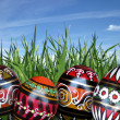 Easter eggs on the green grass background — Stock Photo