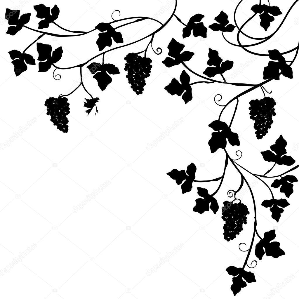 一堆葡萄, 植物背景-矢量图