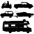 Transportation icons collection - vector silhouette — Stock Vector #21451805