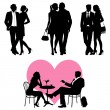 Lots of , romance couple, silhouette - vector set — Stockvectorbeeld